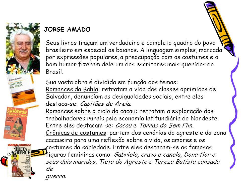 Segunda geração (1930-1945) - Prosa JORGE AMADO Seus livros traçam um verdadeiro e completo quadro do povo brasileiro em especial os baianos. A lingua
