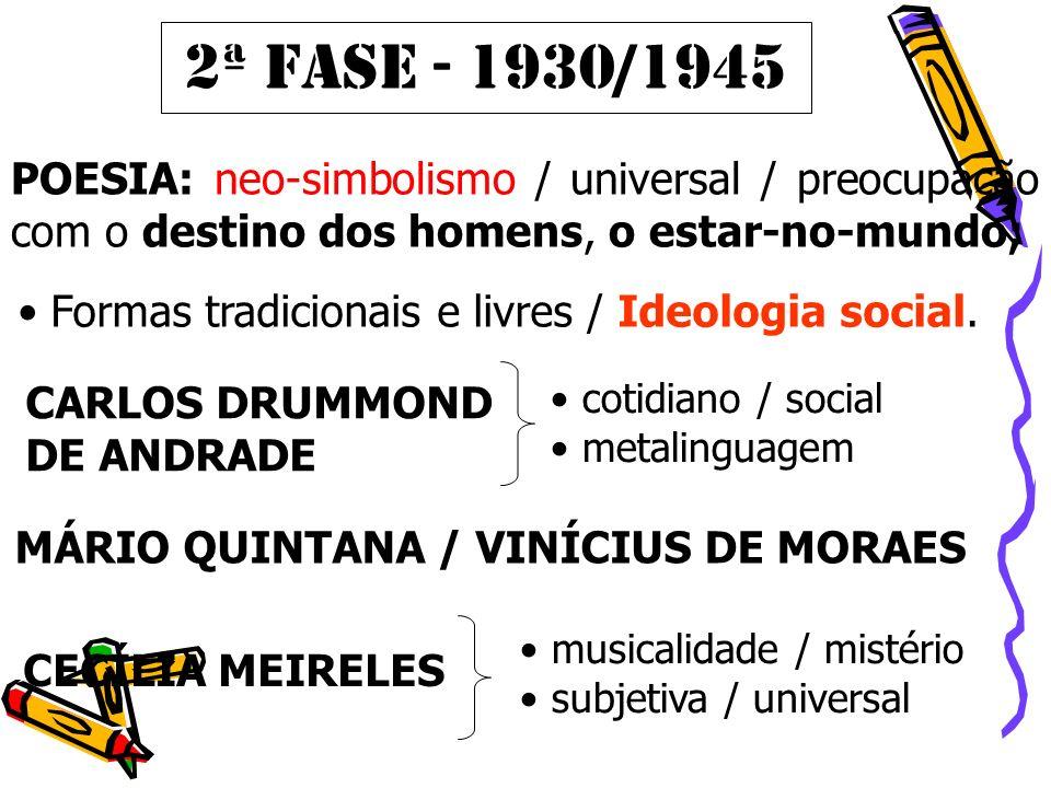 POESIA: neo-simbolismo / universal / preocupação com o destino dos homens, o estar-no-mundo; 2ª FASE - 1930/1945 Formas tradicionais e livres / Ideolo