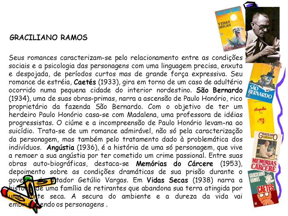 Segunda geração (1930-1945) - Prosa GRACILIANO RAMOS Seus romances caracterizam-se pelo relacionamento entre as condições sociais e a psicologia das p