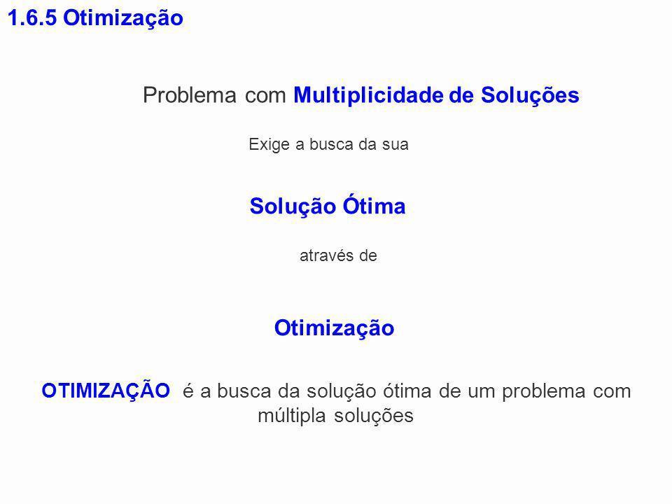 1.6.5 Otimização OTIMIZAÇÃO é a busca da solução ótima de um problema com múltipla soluções Problema com Multiplicidade de Soluções Exige a busca da s