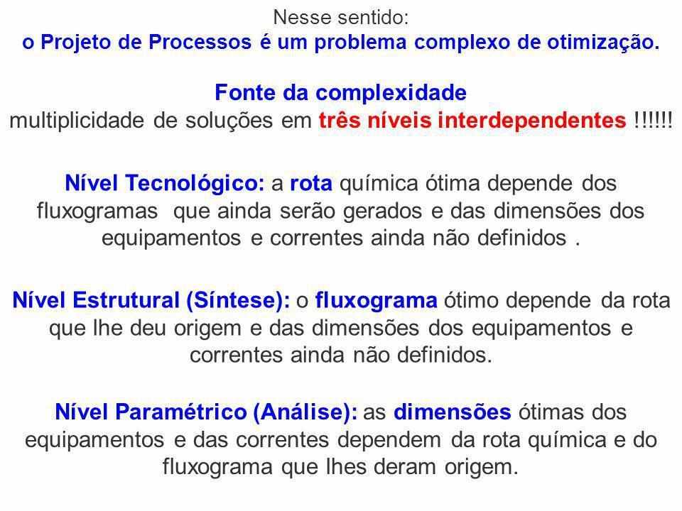Nível Tecnológico: a rota química ótima depende dos fluxogramas que ainda serão gerados e das dimensões dos equipamentos e correntes ainda não definid