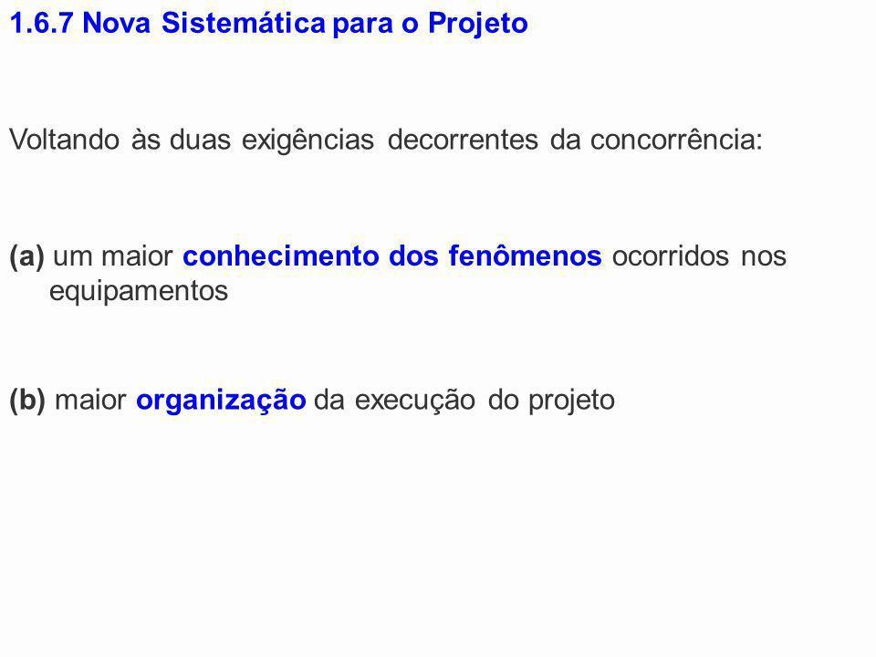 1.6.7 Nova Sistemática para o Projeto Voltando às duas exigências decorrentes da concorrência: (a) um maior conhecimento dos fenômenos ocorridos nos e
