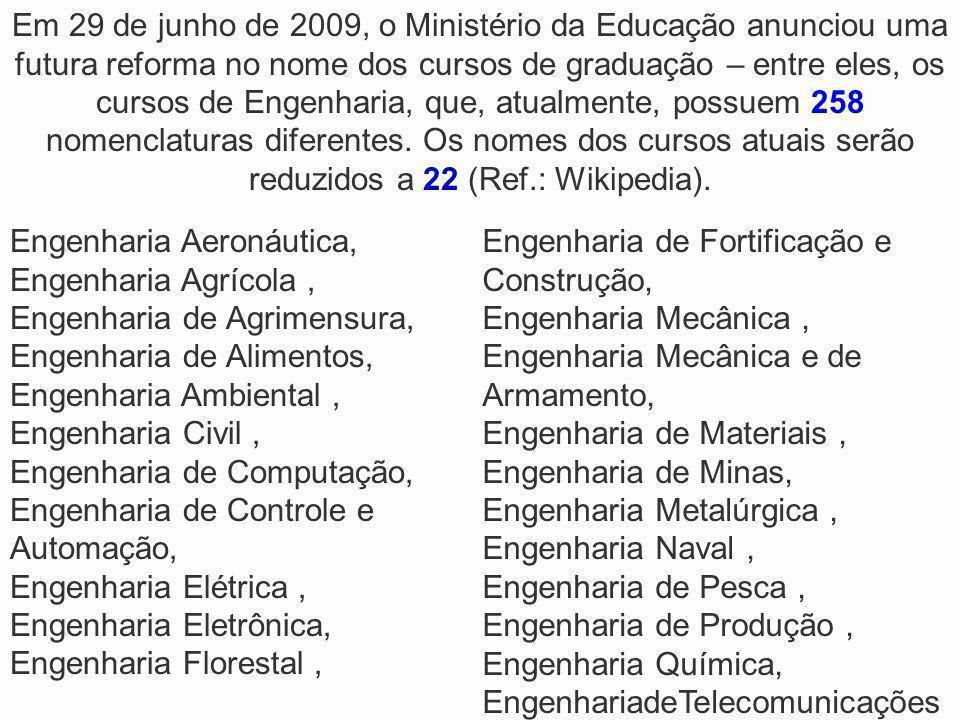 Em 29 de junho de 2009, o Ministério da Educação anunciou uma futura reforma no nome dos cursos de graduação – entre eles, os cursos de Engenharia, qu