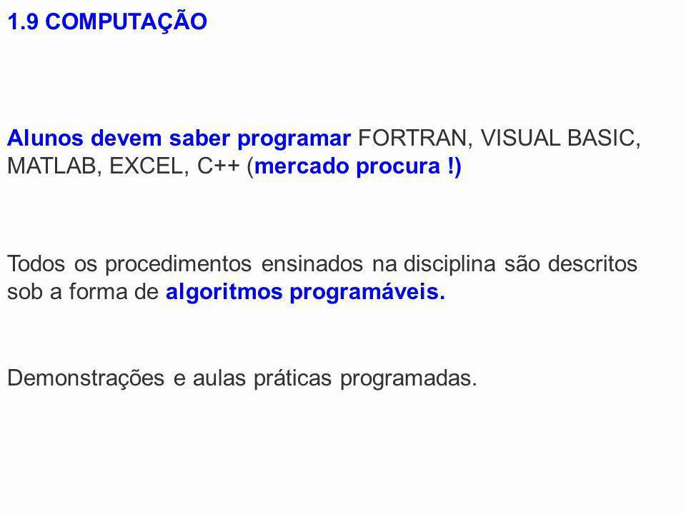 1.9 COMPUTAÇÃO Alunos devem saber programar FORTRAN, VISUAL BASIC, MATLAB, EXCEL, C++ (mercado procura !) Demonstrações e aulas práticas programadas.
