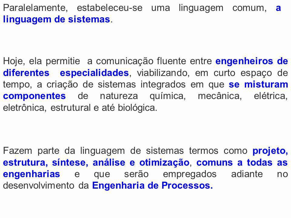Paralelamente, estabeleceu-se uma linguagem comum, a linguagem de sistemas. Fazem parte da linguagem de sistemas termos como projeto, estrutura, sínte
