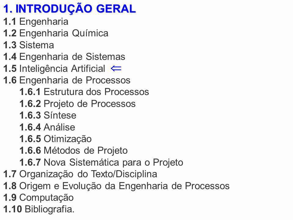 1. INTRODUÇÃO GERAL 1.1 Engenharia 1.2 Engenharia Química 1.3 Sistema 1.4 Engenharia de Sistemas 1.5 Inteligência Artificial 1.6 Engenharia de Process
