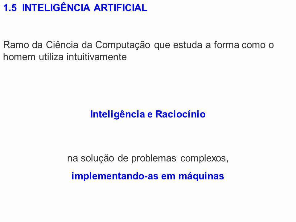 1.5 INTELIGÊNCIA ARTIFICIAL Ramo da Ciência da Computação que estuda a forma como o homem utiliza intuitivamente Inteligência e Raciocínio na solução