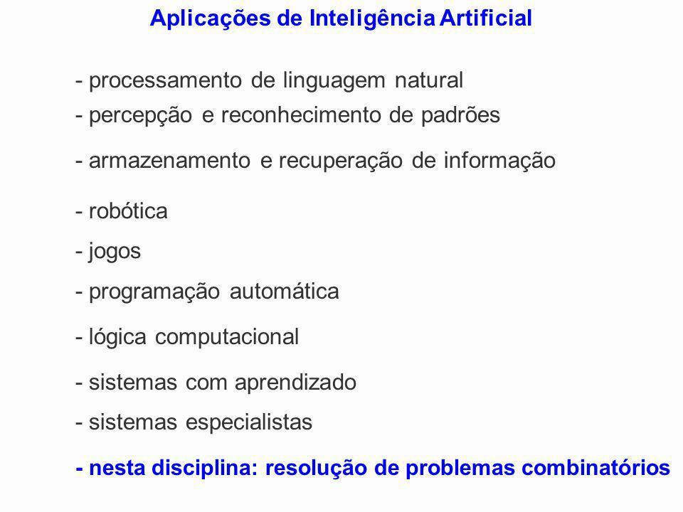 - sistemas especialistas - nesta disciplina: resolução de problemas combinatórios Aplicações de Inteligência Artificial - processamento de linguagem n