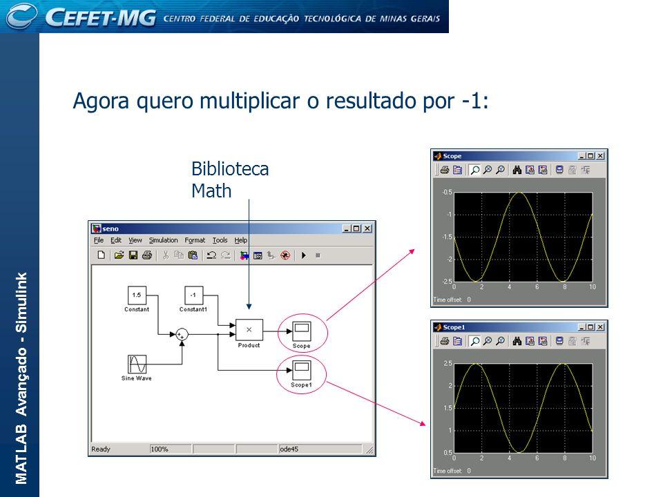 MATLAB Avançado - Simulink Agora quero multiplicar o resultado por -1: Biblioteca Math