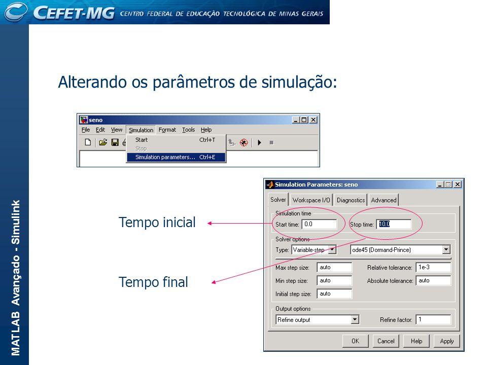 MATLAB Avançado - Simulink Alterando os parâmetros de simulação: Tempo inicial Tempo final