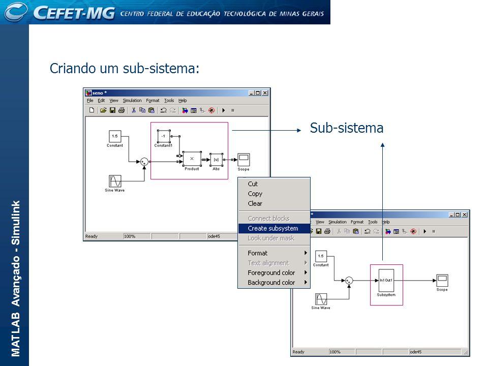 MATLAB Avançado - Simulink Criando um sub-sistema: Sub-sistema