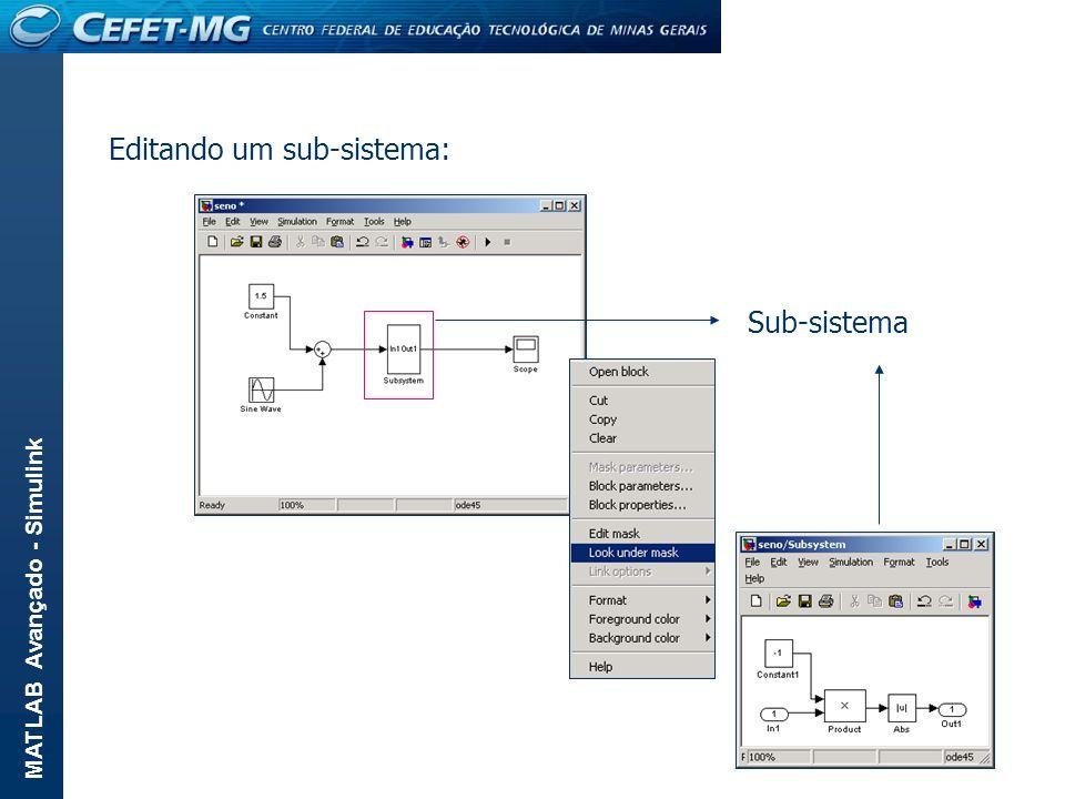 MATLAB Avançado - Simulink Editando um sub-sistema: Sub-sistema