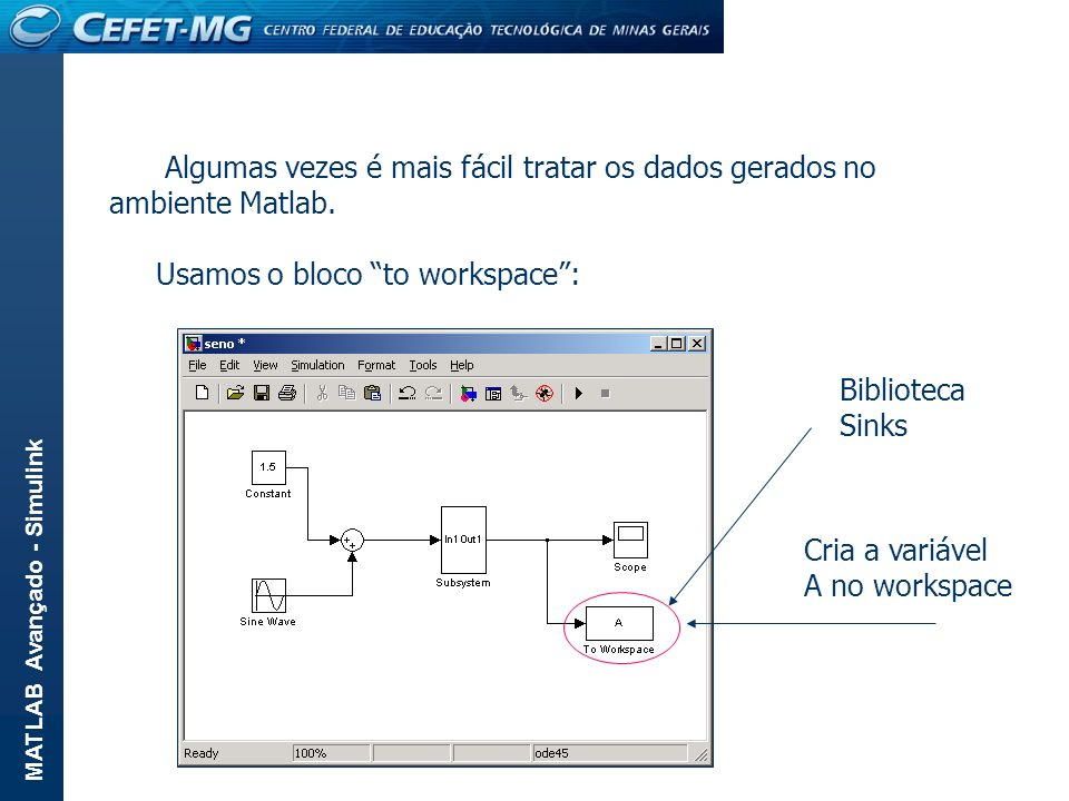 MATLAB Avançado - Simulink Algumas vezes é mais fácil tratar os dados gerados no ambiente Matlab. Usamos o bloco to workspace: Cria a variável A no wo