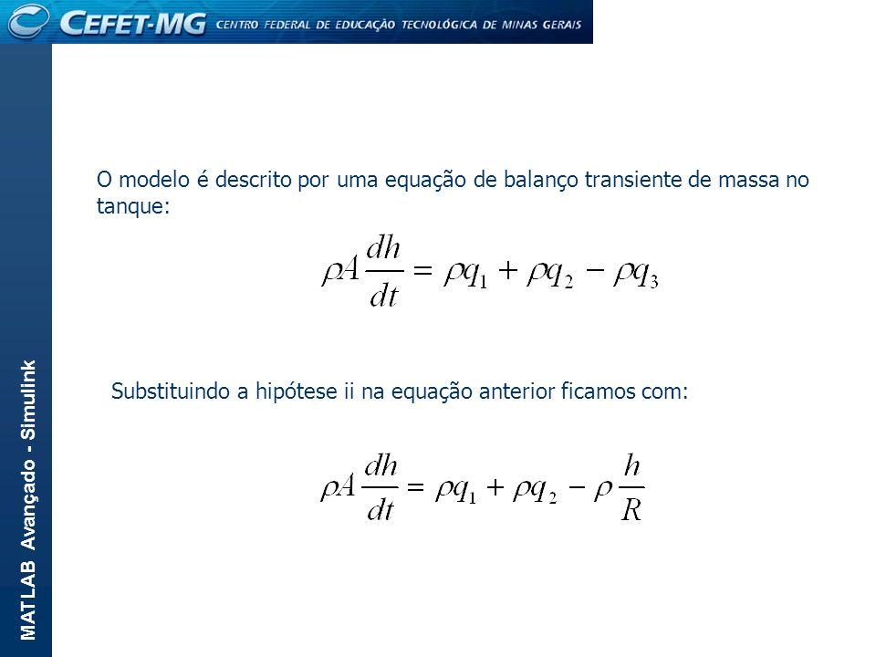 MATLAB Avançado - Simulink O modelo é descrito por uma equação de balanço transiente de massa no tanque: Substituindo a hipótese ii na equação anterio
