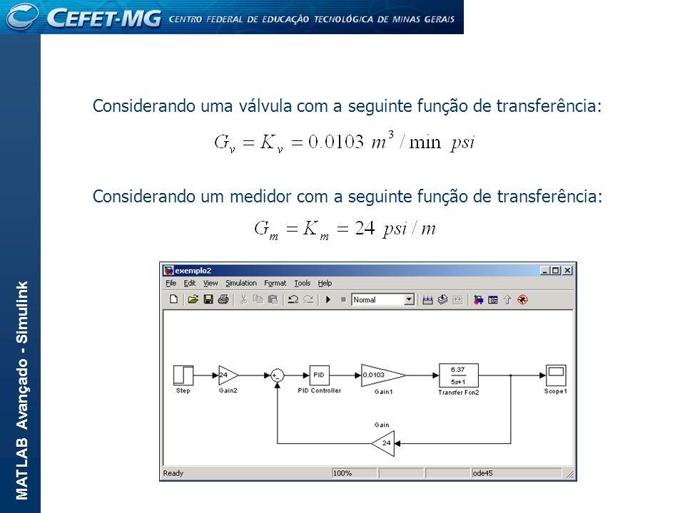 MATLAB Avançado - Simulink Considerando uma válvula com a seguinte função de transferência: Considerando um medidor com a seguinte função de transferê