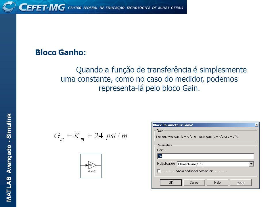 MATLAB Avançado - Simulink Bloco Ganho: Quando a função de transferência é simplesmente uma constante, como no caso do medidor, podemos representa-lá