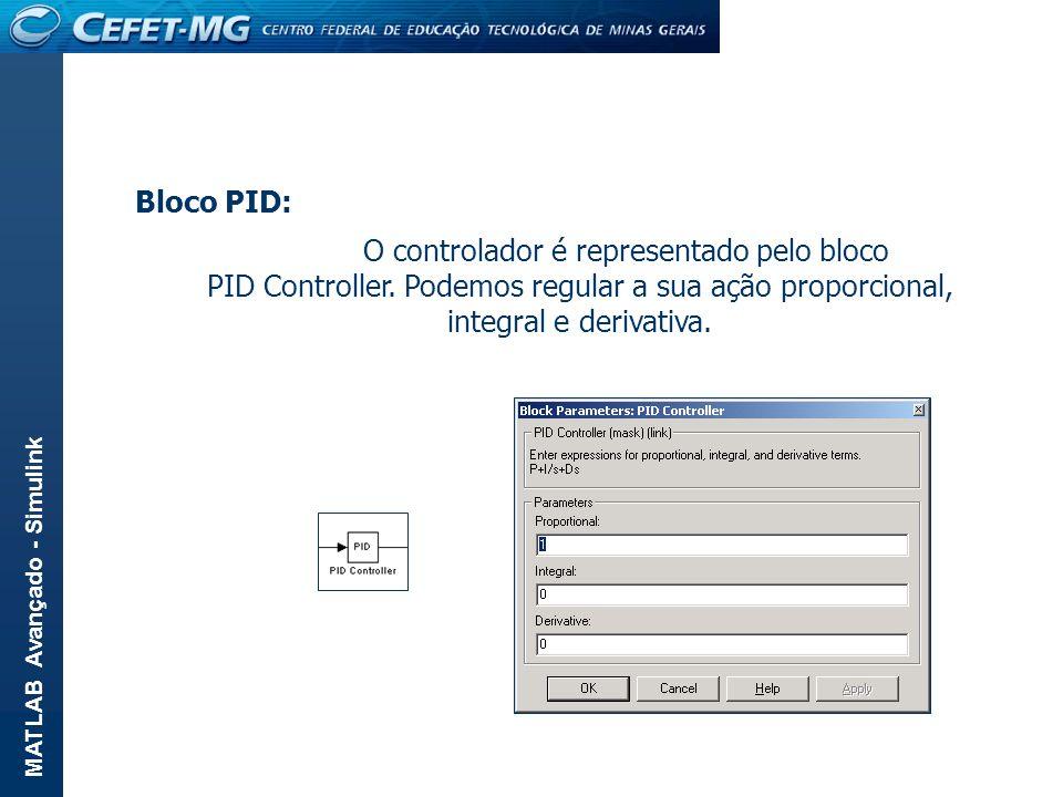 MATLAB Avançado - Simulink Bloco PID: O controlador é representado pelo bloco PID Controller. Podemos regular a sua ação proporcional, integral e deri