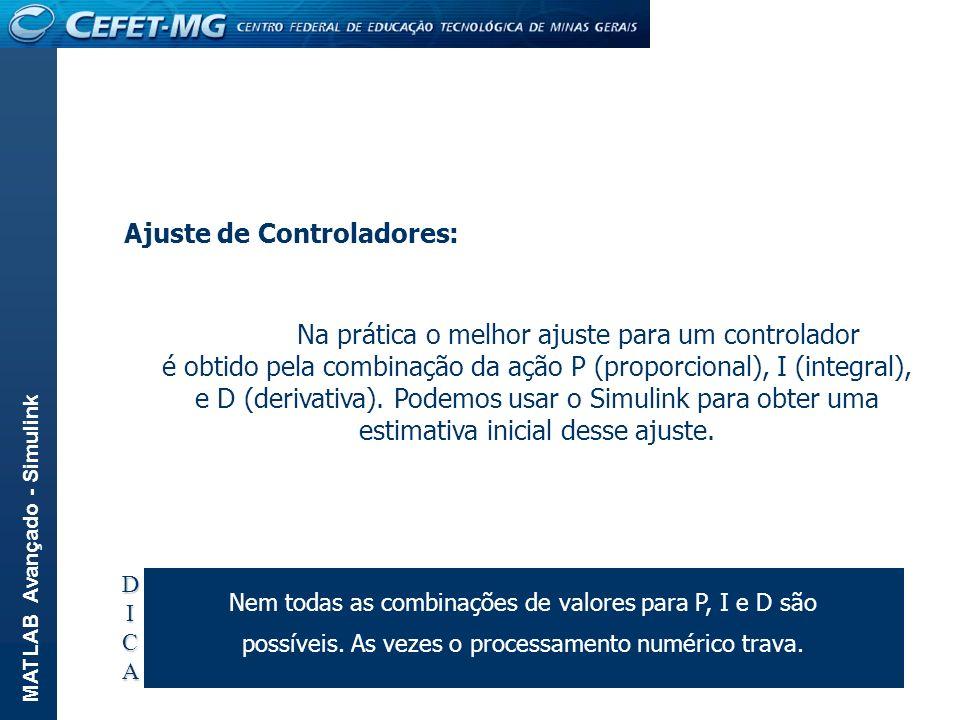 MATLAB Avançado - Simulink Ajuste de Controladores: Na prática o melhor ajuste para um controlador é obtido pela combinação da ação P (proporcional),