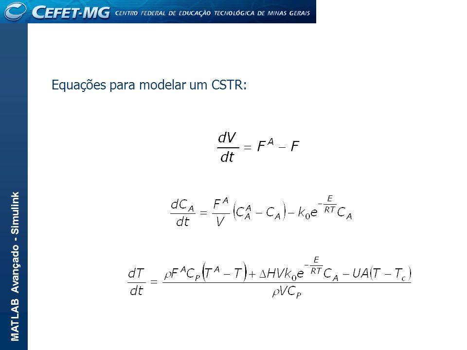 MATLAB Avançado - Simulink Equações para modelar um CSTR: