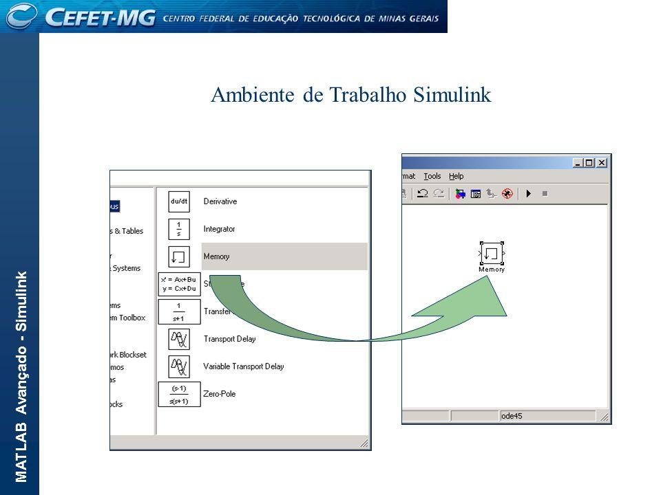 MATLAB Avançado - Simulink Algumas vezes é mais fácil tratar os dados gerados no ambiente Matlab.
