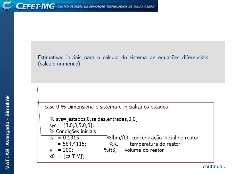 MATLAB Avançado - Simulink function [sys,x0] = reator(t,x,u,flag,U,A,DeltaH,ro,Cp,E,R,k0) % % Simula um reator CSTR (mistura perfeita) no qual se cond