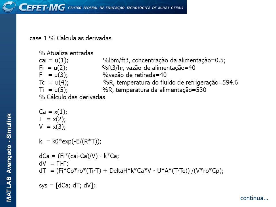 MATLAB Avançado - Simulink case 1 % Calcula as derivadas % Atualiza entradas cai = u(1); %lbm/ft3, concentração da alimentação=0.5; Fi = u(2); %ft3/hr