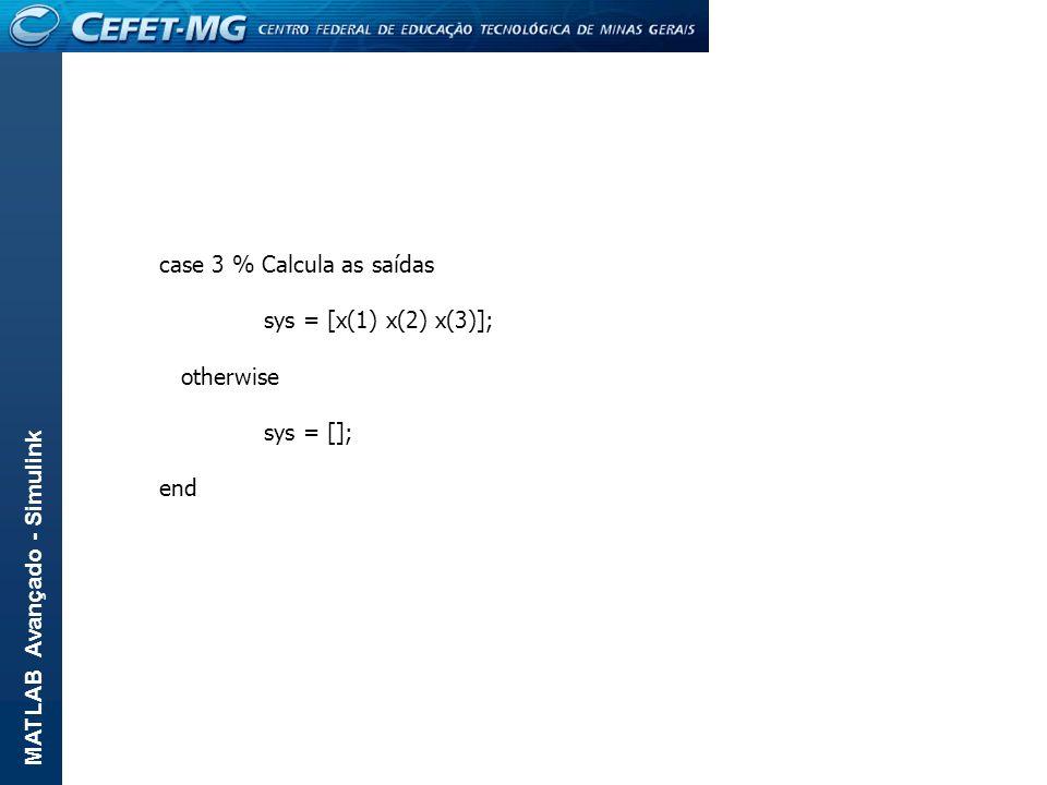 MATLAB Avançado - Simulink case 3 % Calcula as saídas sys = [x(1) x(2) x(3)]; otherwise sys = []; end