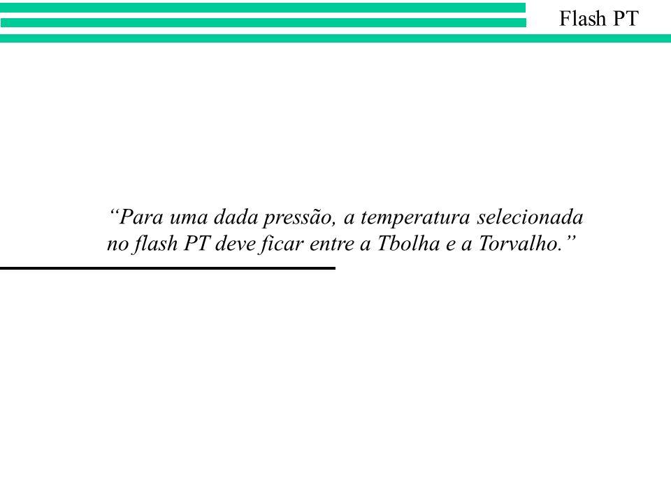 Para uma dada pressão, a temperatura selecionada no flash PT deve ficar entre a Tbolha e a Torvalho. Flash PT