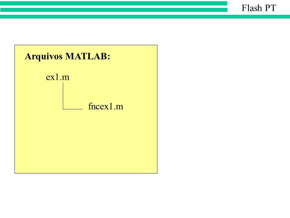 ex1.m fncex1.m Arquivos MATLAB: Flash PT
