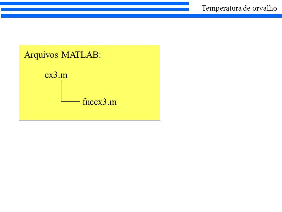 ex3.m Arquivos MATLAB: fncex3.m Temperatura de orvalho