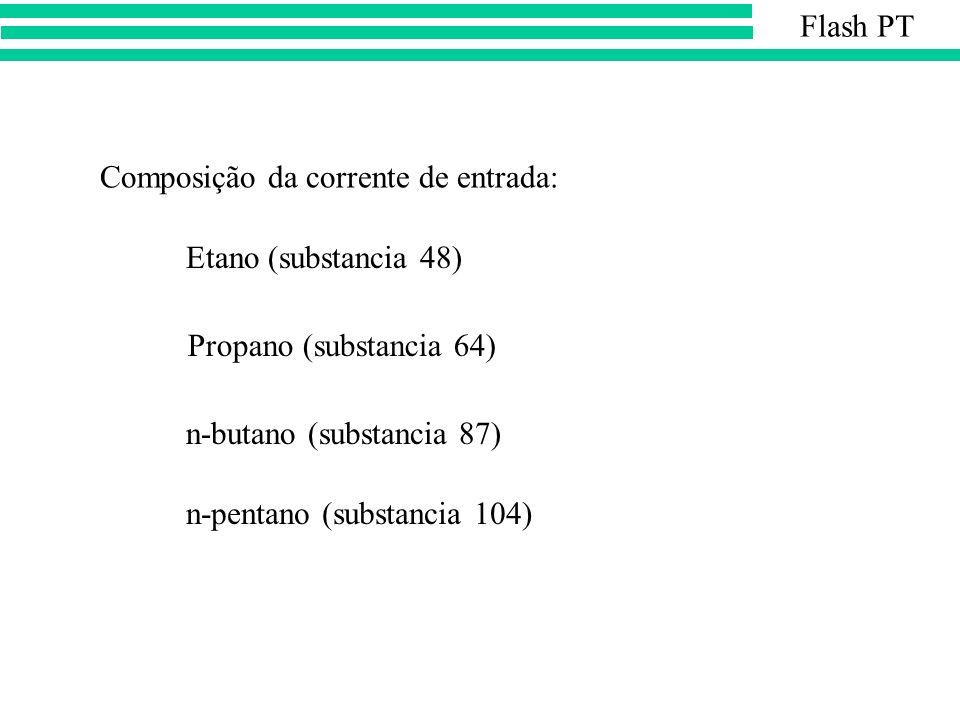 Etano (substancia 48) Propano (substancia 64) n-butano (substancia 87) n-pentano (substancia 104) Composição da corrente de entrada: Flash PT