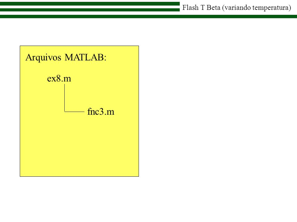 ex8.m Arquivos MATLAB: fnc3.m Flash T Beta (variando temperatura)