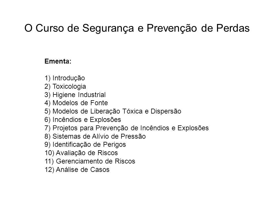 O Curso de Segurança e Prevenção de Perdas Ementa: 1) Introdução 2) Toxicologia 3) Higiene Industrial 4) Modelos de Fonte 5) Modelos de Liberação Tóxi