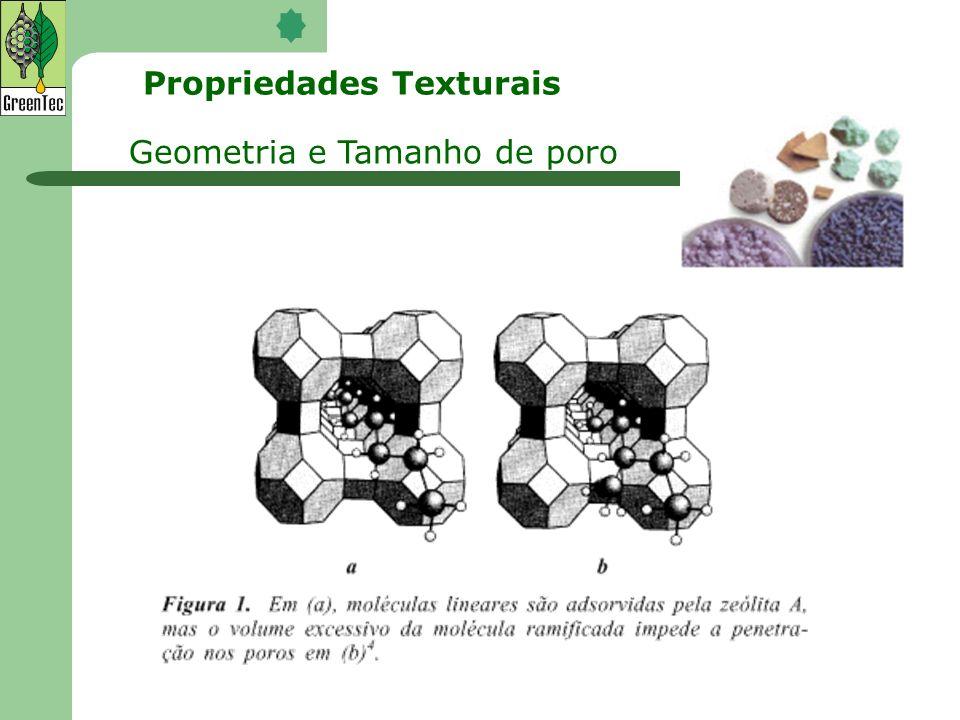 Geometria e Tamanho de poro Propriedades Texturais