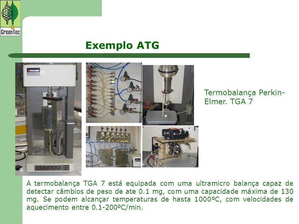 Exemplo ATG Termobalança Perkin- Elmer. TGA 7 A termobalança TGA 7 está equipada com uma ultramicro balança capaz de detectar câmbios de peso de ate 0