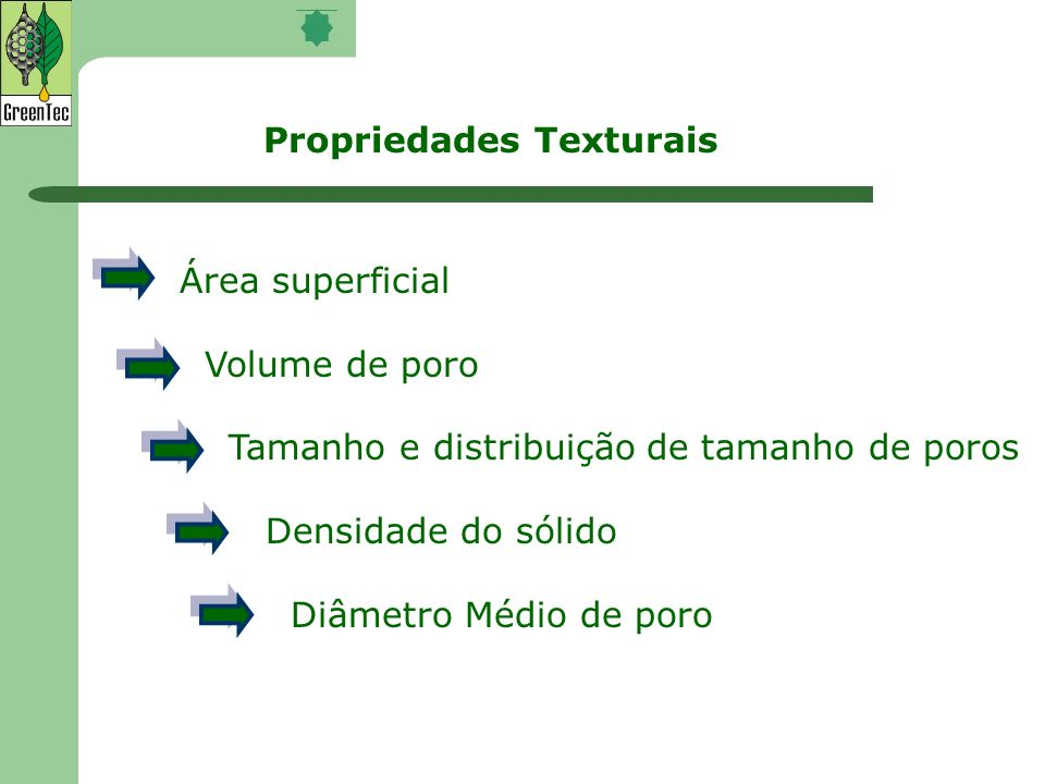 Propriedades Texturais Área superficial Volume de poro Tamanho e distribuição de tamanho de poros Densidade do sólido Diâmetro Médio de poro