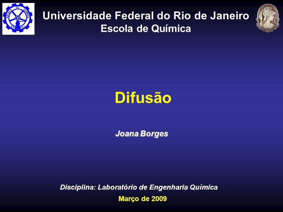 Difusão Universidade Federal do Rio de Janeiro Escola de Química Joana Borges Disciplina: Laboratório de Engenharia Química Março de 2009