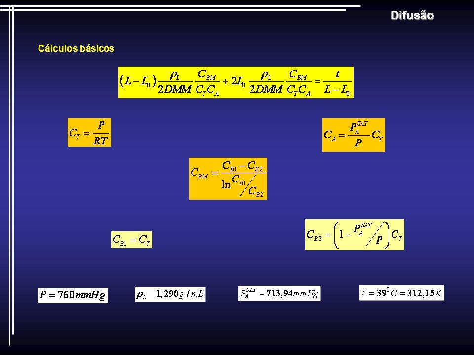 Difusão Modelos Teóricos de Coeficiente de Difusão Gasosa Relação de Gilliland Utilizada para sistemas gasosos binários de misturas de hidrocarboneto / hidrocarboneto, a pressões de até 3,3MPa.