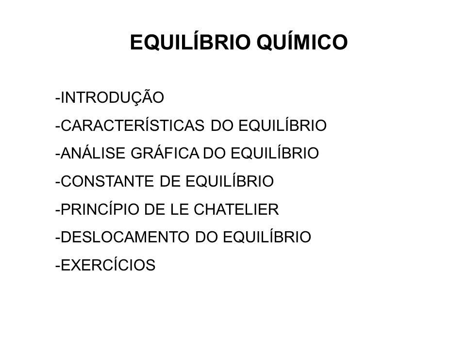 EQUILÍBRIO QUÍMICO -INTRODUÇÃO -CARACTERÍSTICAS DO EQUILÍBRIO -ANÁLISE GRÁFICA DO EQUILÍBRIO -CONSTANTE DE EQUILÍBRIO -PRINCÍPIO DE LE CHATELIER -DESL