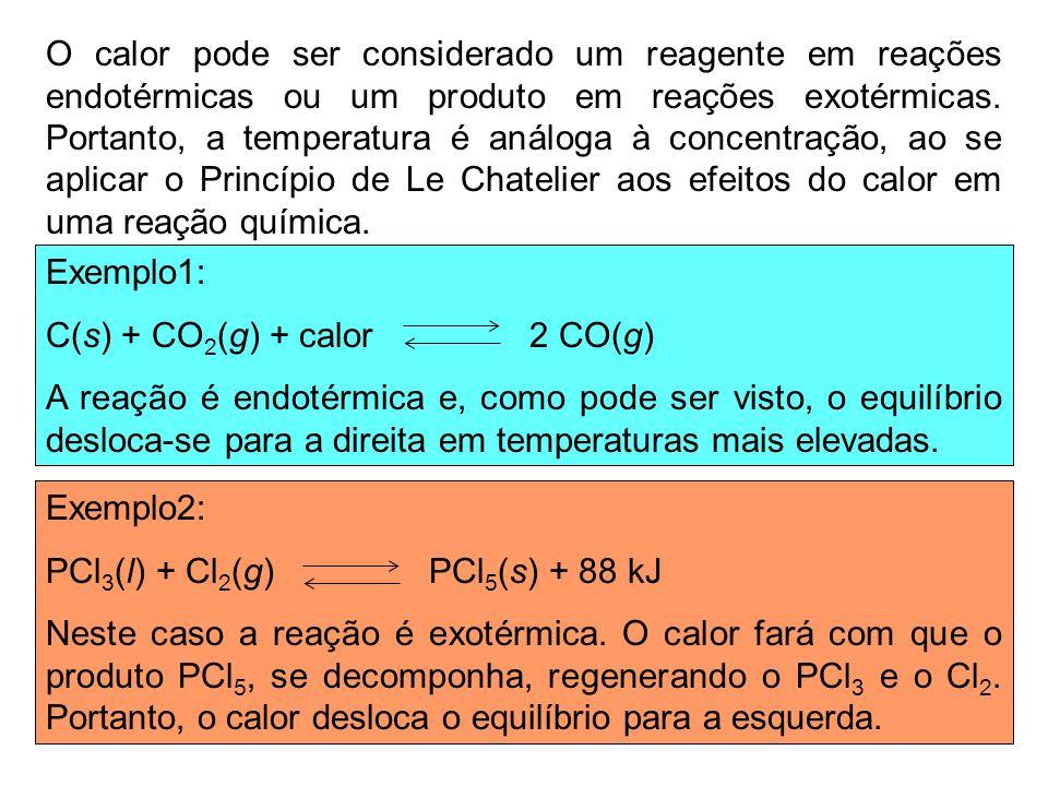 O calor pode ser considerado um reagente em reações endotérmicas ou um produto em reações exotérmicas. Portanto, a temperatura é análoga à concentraçã