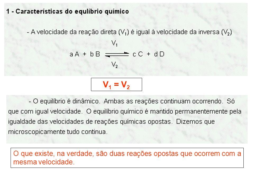 V 1 = V 2 O que existe, na verdade, são duas reações opostas que ocorrem com a mesma velocidade.