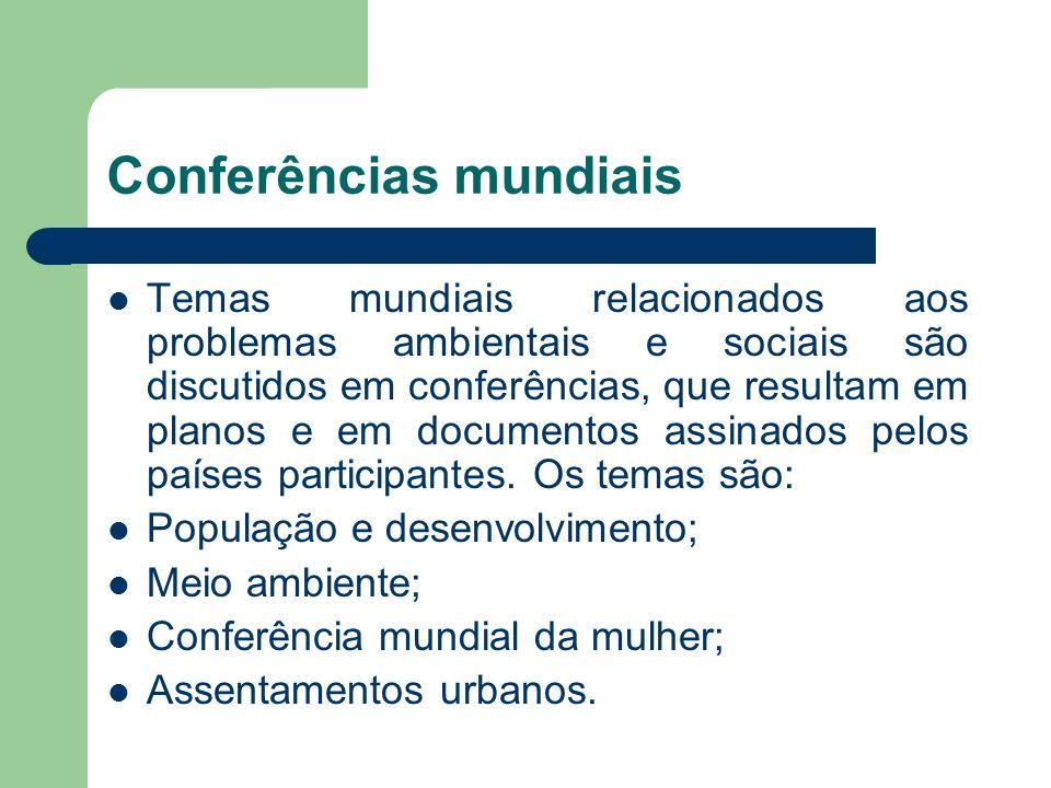 Conferências mundiais Temas mundiais relacionados aos problemas ambientais e sociais são discutidos em conferências, que resultam em planos e em docum