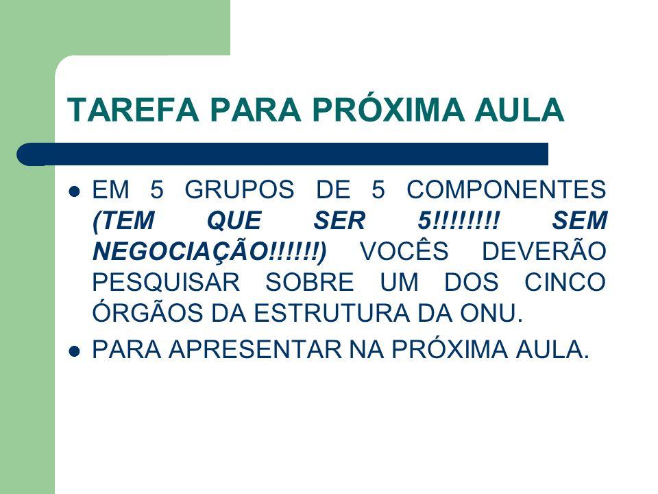 TAREFA PARA PRÓXIMA AULA EM 5 GRUPOS DE 5 COMPONENTES (TEM QUE SER 5!!!!!!!! SEM NEGOCIAÇÃO!!!!!!) VOCÊS DEVERÃO PESQUISAR SOBRE UM DOS CINCO ÓRGÃOS D