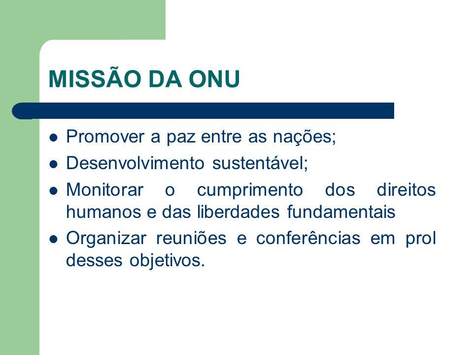 MISSÃO DA ONU Promover a paz entre as nações; Desenvolvimento sustentável; Monitorar o cumprimento dos direitos humanos e das liberdades fundamentais