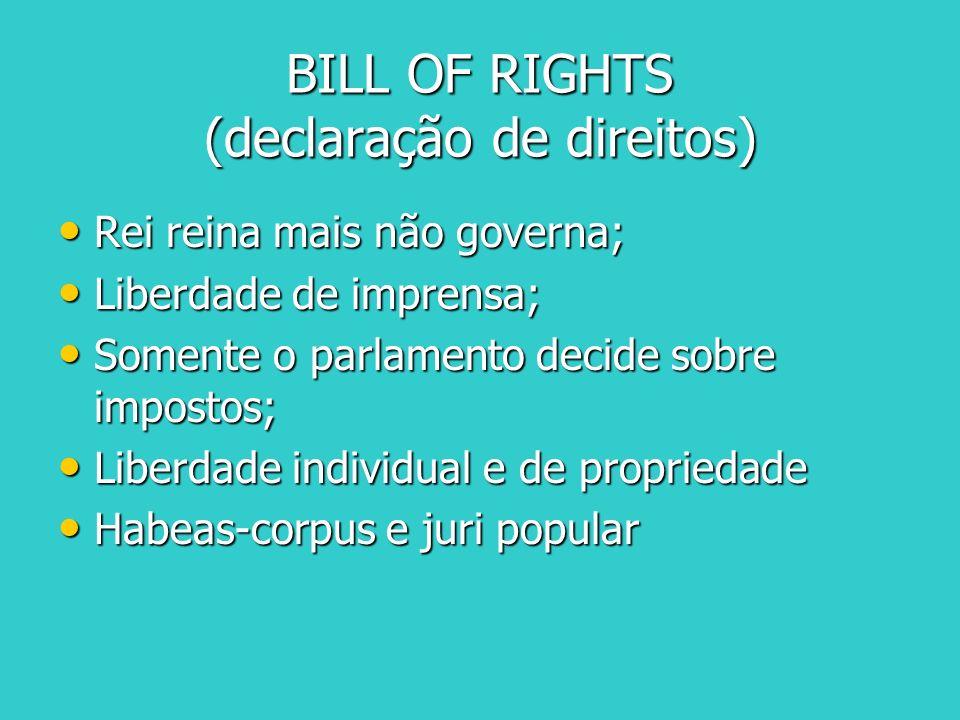 BILL OF RIGHTS (declaração de direitos) Rei reina mais não governa; Rei reina mais não governa; Liberdade de imprensa; Liberdade de imprensa; Somente