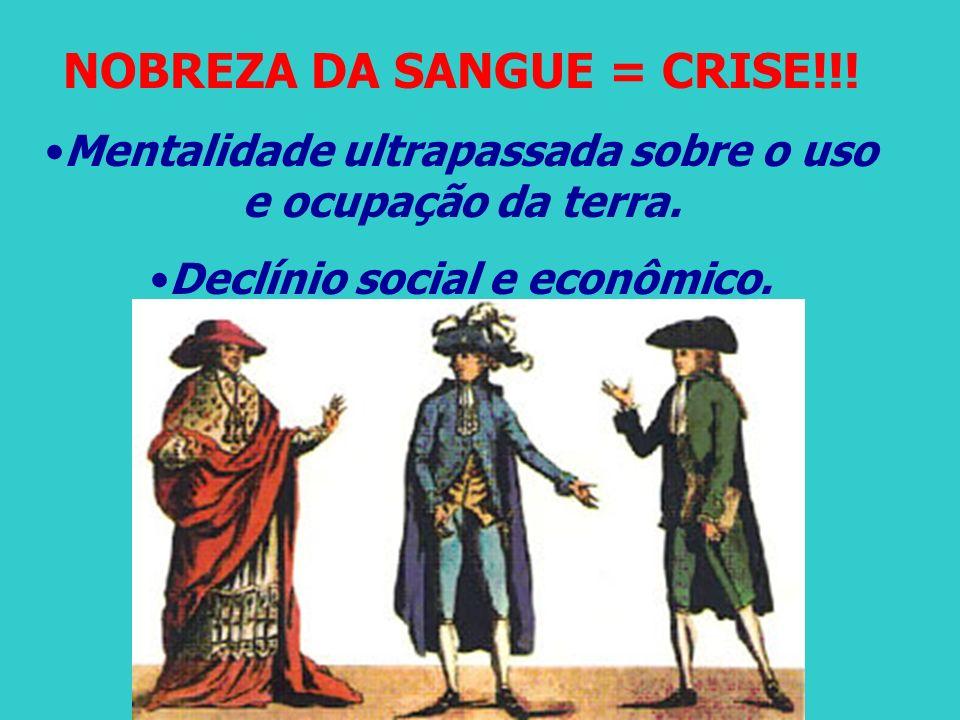 NOBREZA DA SANGUE = CRISE!!! Mentalidade ultrapassada sobre o uso e ocupação da terra. Declínio social e econômico.
