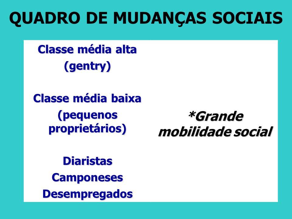 QUADRO DE MUDANÇAS SOCIAIS Classe média alta (gentry) Classe média baixa (pequenos proprietários) DiaristasCamponesesDesempregados *Grande mobilidade