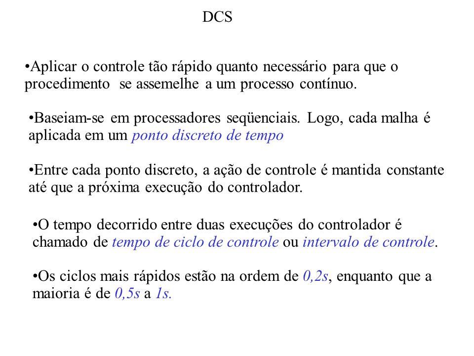 DCS Aplicar o controle tão rápido quanto necessário para que o procedimento se assemelhe a um processo contínuo. Baseiam-se em processadores seqüencia