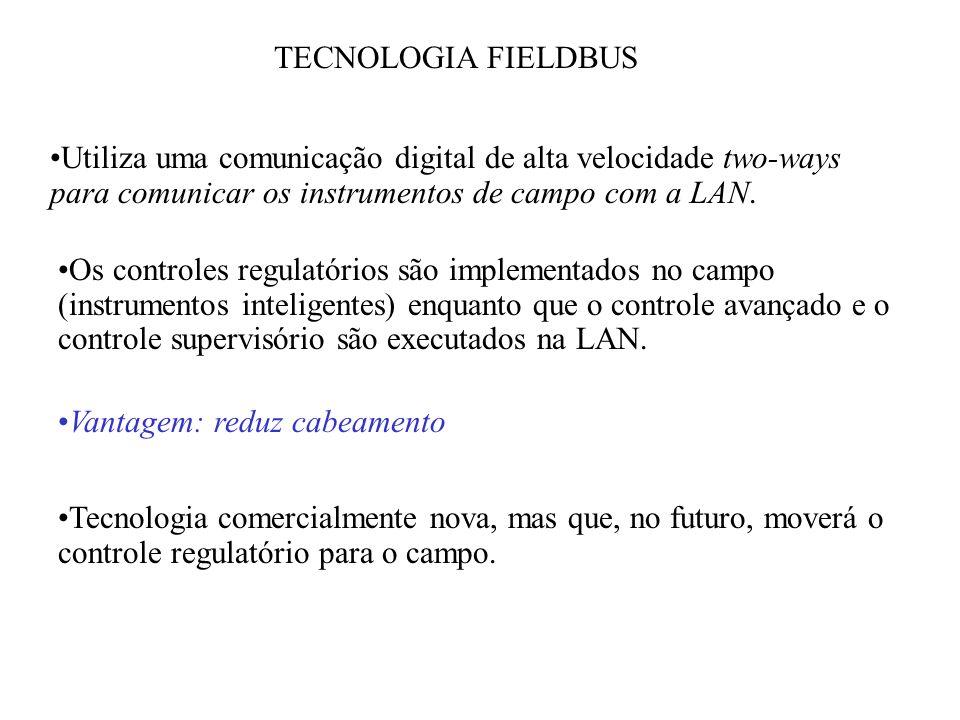 TECNOLOGIA FIELDBUS Utiliza uma comunicação digital de alta velocidade two-ways para comunicar os instrumentos de campo com a LAN. Os controles regula