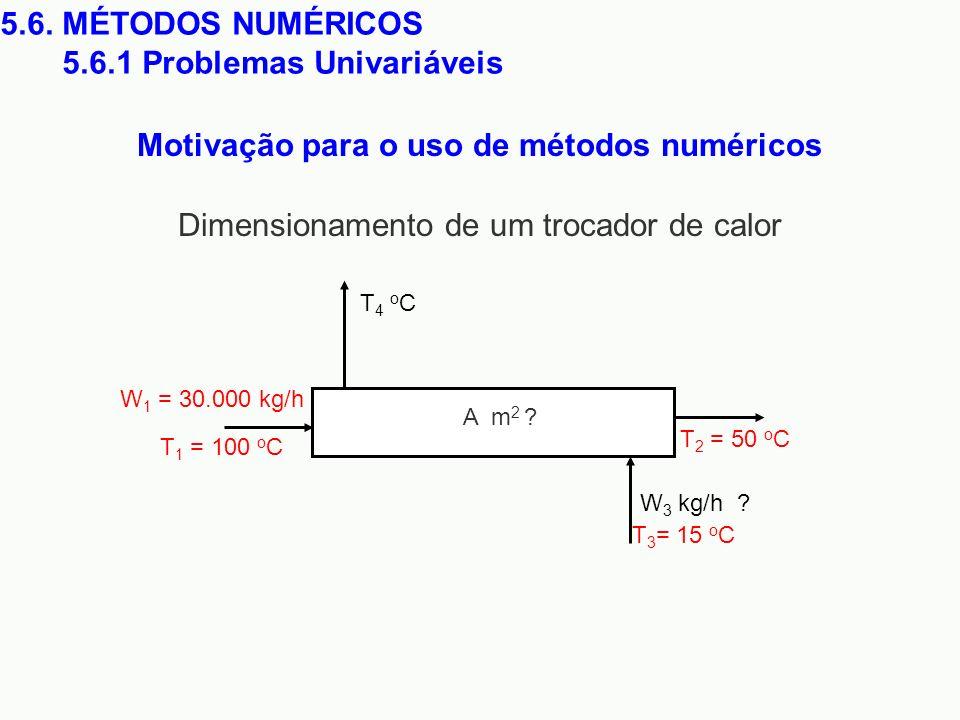 Motivação para o uso de métodos numéricos 5.6. MÉTODOS NUMÉRICOS 5.6.1 Problemas Univariáveis W 1 = 30.000 kg/h T 1 = 100 o C T 2 = 50 o C W 3 kg/h ?
